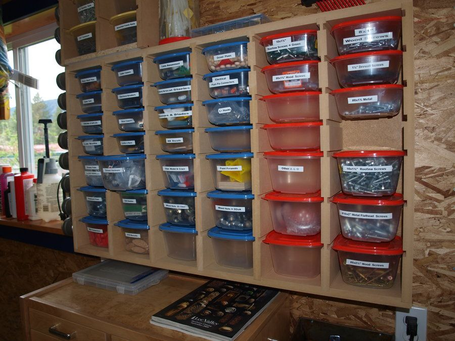 Garage storage for small parts courtesy of kmtsilvitech for Online shelf design tool