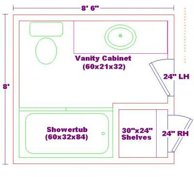 Bathroom Floor Plan Layout   Would Turn Shelves Into Walk In Shower And  Shower/