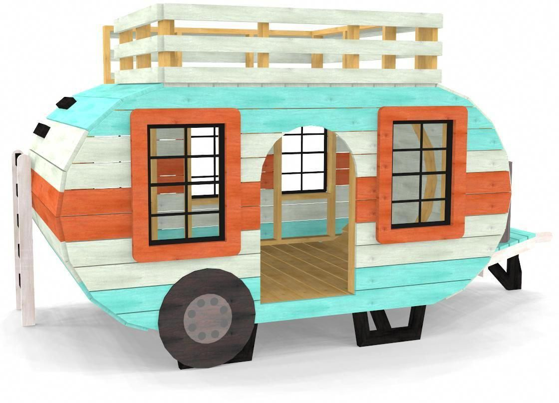 Diy loft bed with slide plans  This wooden camp trailer playhouse plan is sure to delight the kids