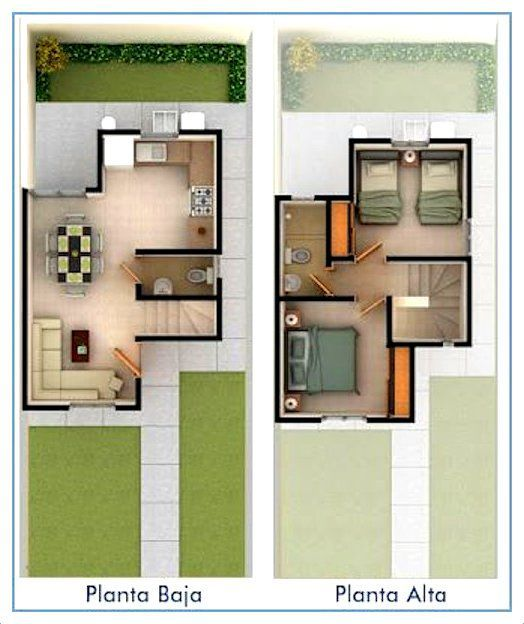 planos de casas de dos plantas pequeñas Planos Pinterest