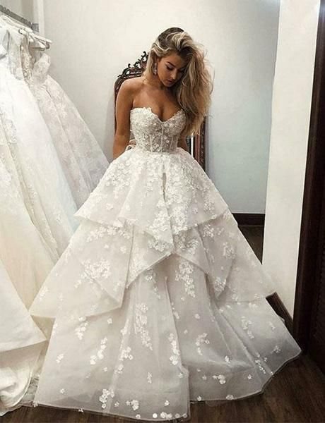 Photo of Romantic wedding dress, tulle wedding dress, sweetheart wedding dress, appliques wedding dress