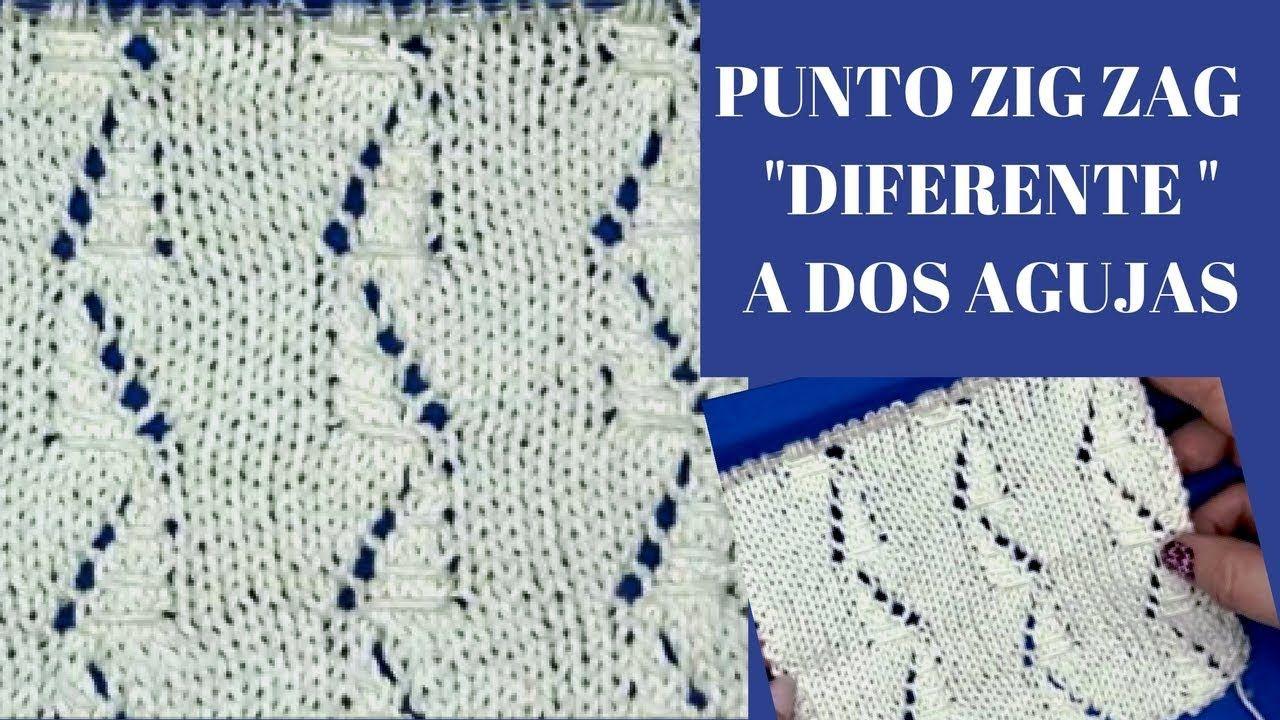 PUNTO CALADO ZIG ZAG DIFERENTE | TEJER CON LOLA M | Pinterest | Puntos