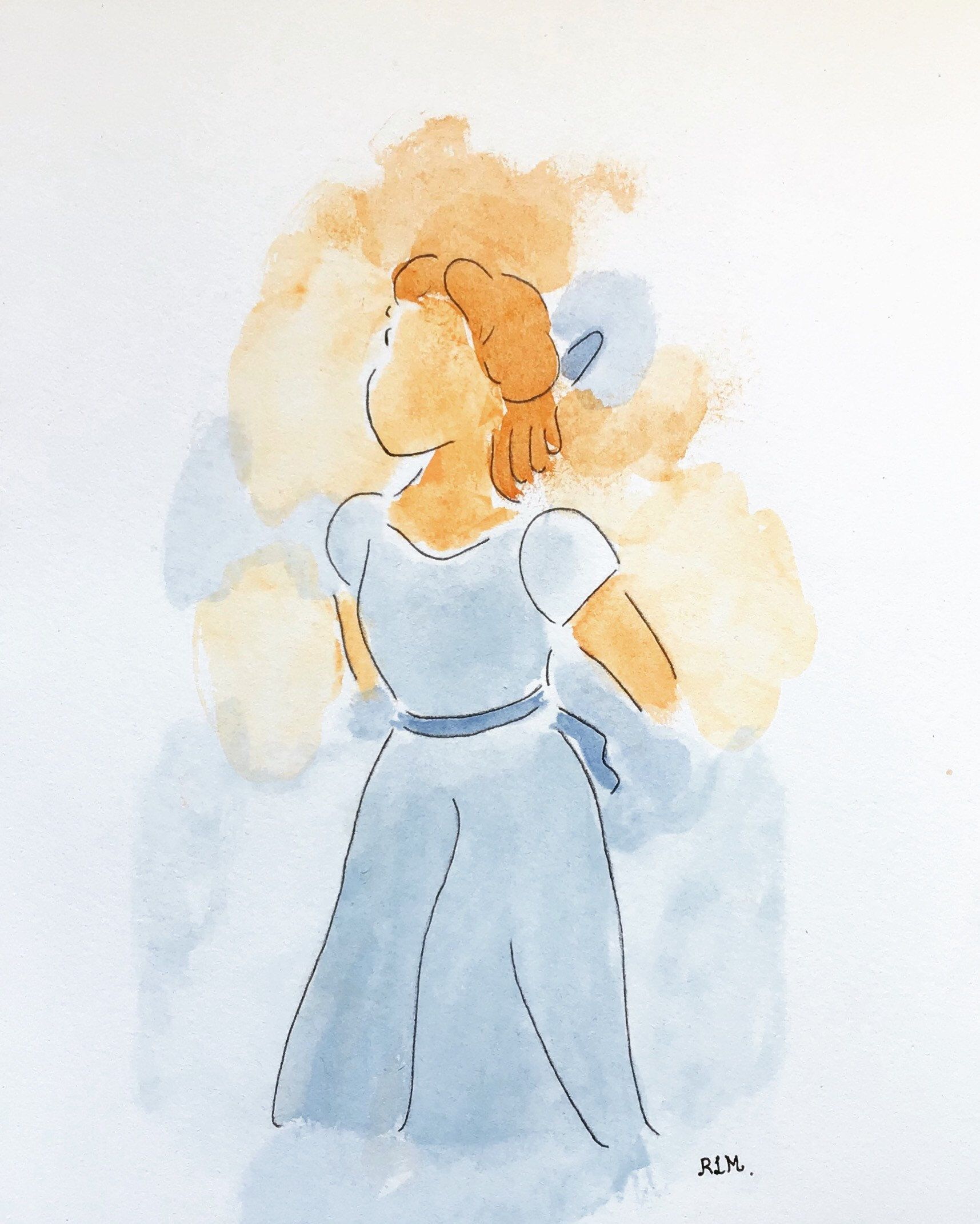 Do not miss this item from my shop Drawing Wendy of Peter Pan Disney made with pencil and watercolors.