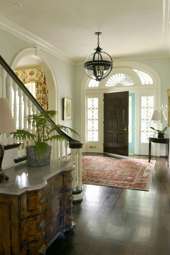Traditional Victorian Colonial Living Room By Timothy Corrigan With Images: Quite A Grand Entrance!. Great Rug And Hanging Light #room Designs #luxury