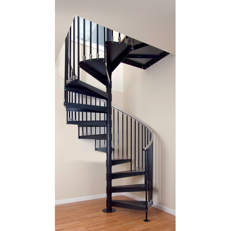 The Iron Shop Elk Grove 60 In X 10 25 Ft Gray Spiral Staircase Kit   Steel Spiral Staircase For Sale   Wrought Iron   Staircase Design   Kits   Cast Iron   Stair Handrail