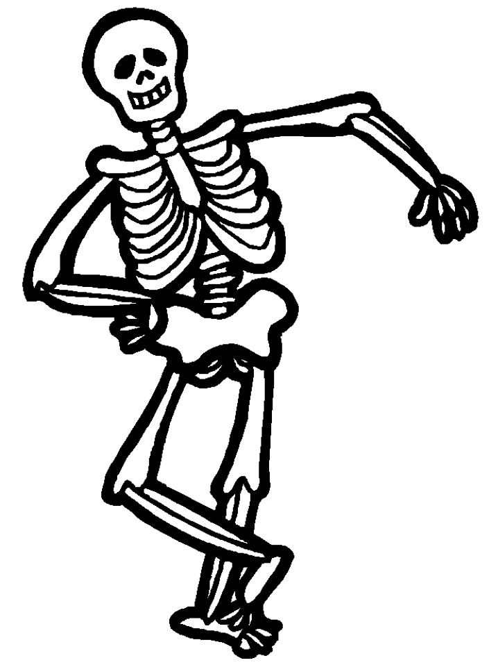 Printable Halloween Coloring Pages  Funny Halloween Skeleton Clip