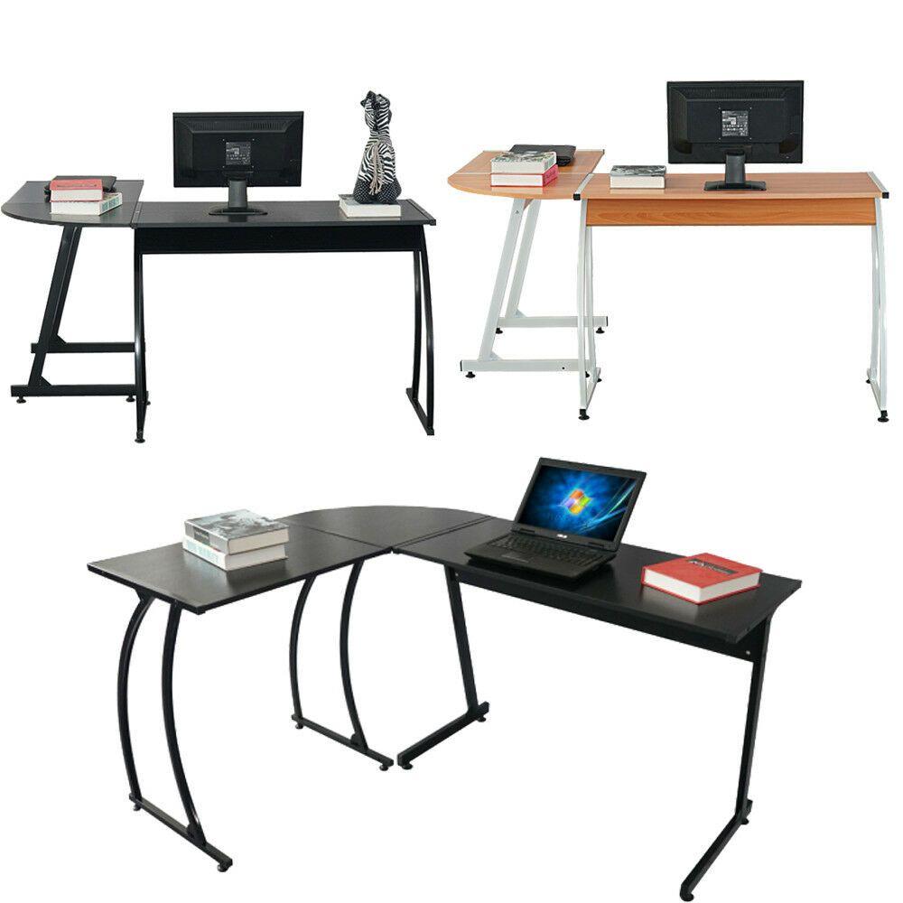 New L Shaped Desk Office Computer Glass Corner Desk With Keyboard Tray Desk With Keyboard Tray L Shaped Desk Glass Corner Desk