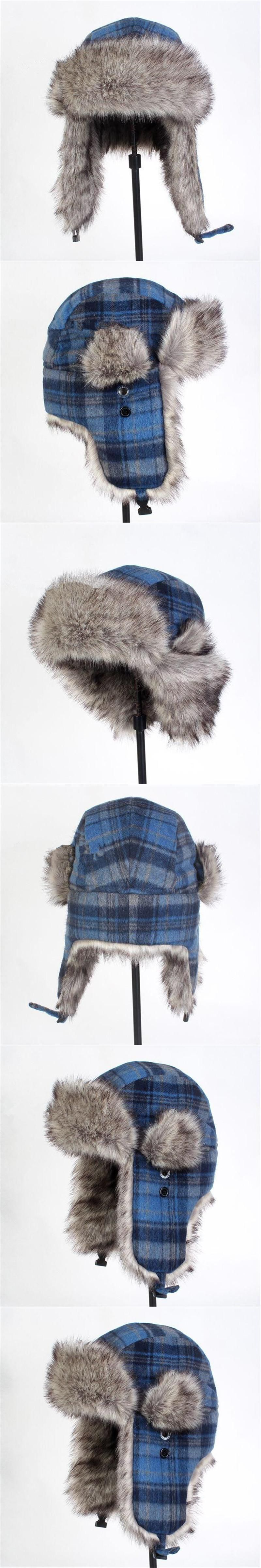 7090ad7fa23 New Winter Artificial Plaid Bomber Hats Casual Men Bomber Hats Fur Hat  European Style Outdoor Ear
