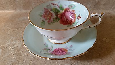 Paragon  teacup and saucer, light blue with roses