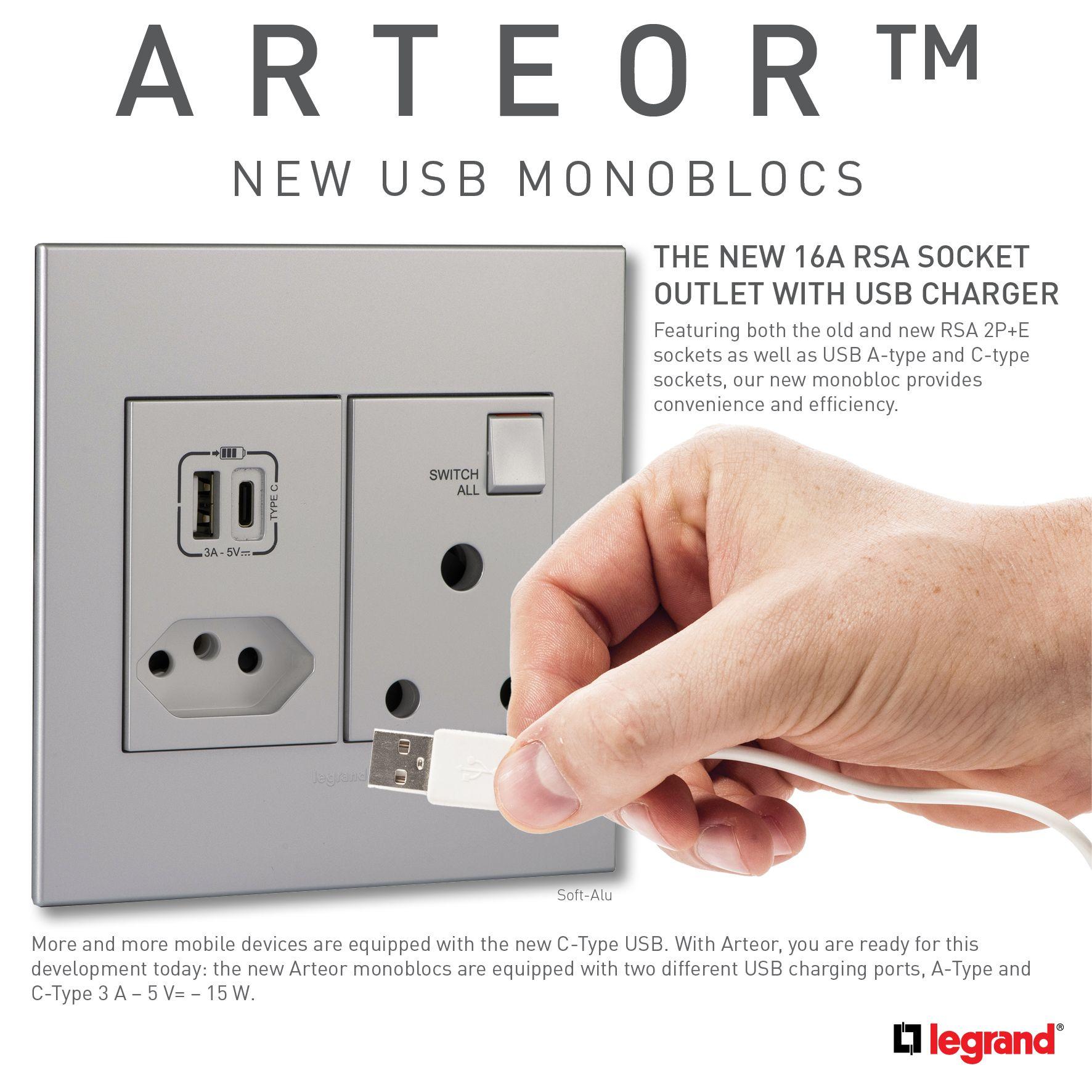 Arteor Usb Monoblocs Home Automation Sockets Usb