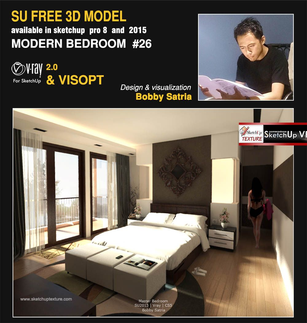 Free sketchup model modern bedroom 26 vray