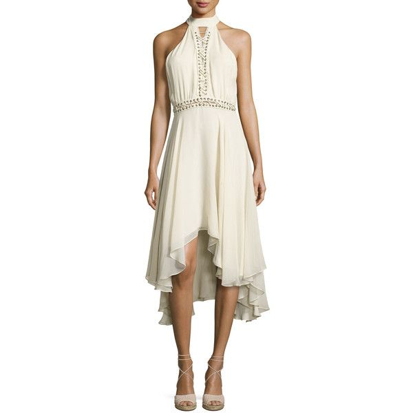 Haute Hippie The Free Spirit Lace-Up Silk Dress ($595) ❤ liked on Polyvore featuring dresses, antique white, flounce dress, silk dress, button dress, sleeveless cocktail dress and off white dresses