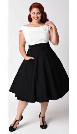 Unique Vintage Plus Size 1950s Black & White Colorblock Tippi Swing ...