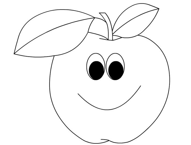 Cartoon Apple Coloring Page 1 Art Sketching Pinterest