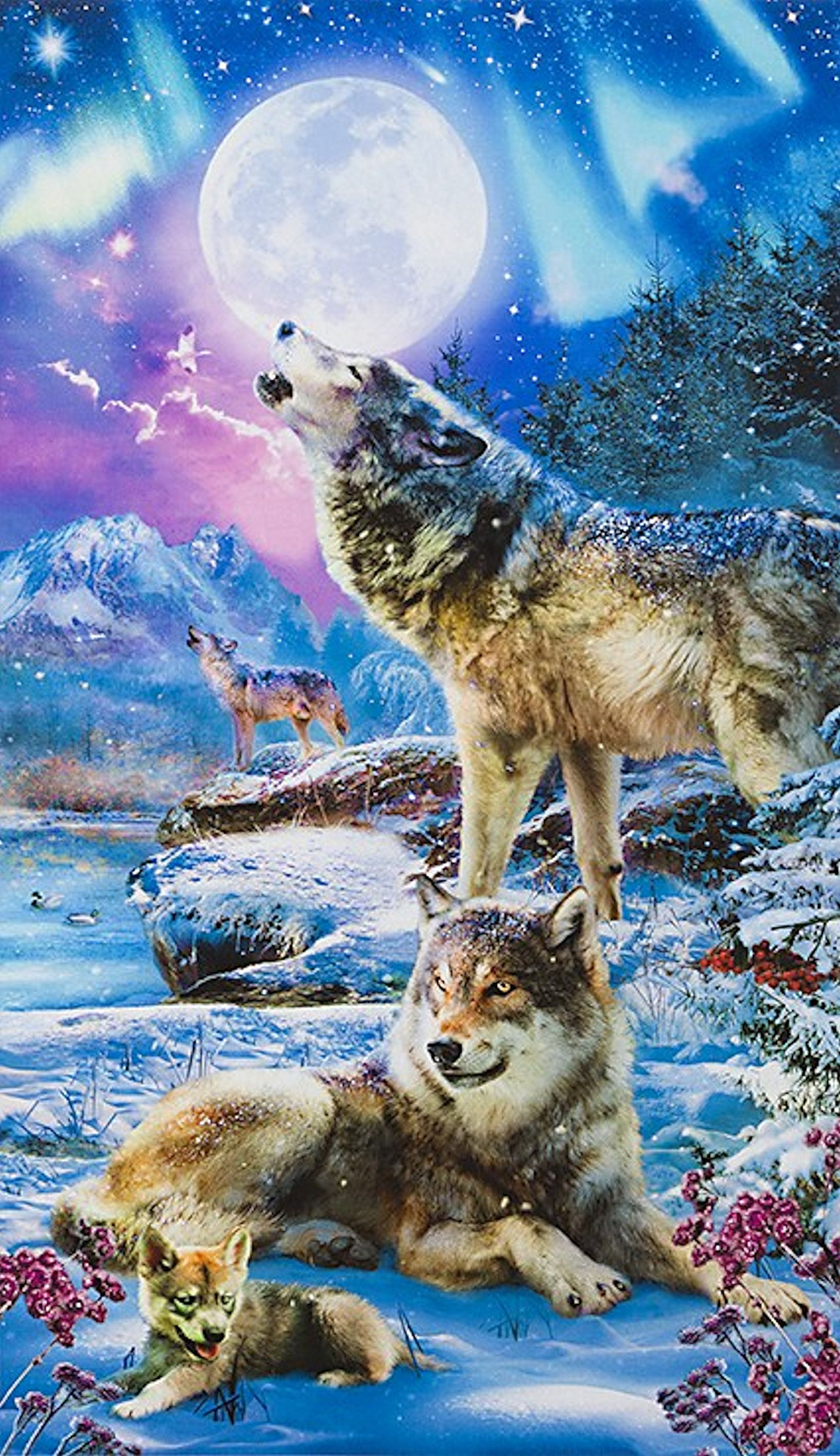 Photo of New – Nightfall Wolves Picture This Digital – Robert Kaufman – 1 Panel (24″) – More Available