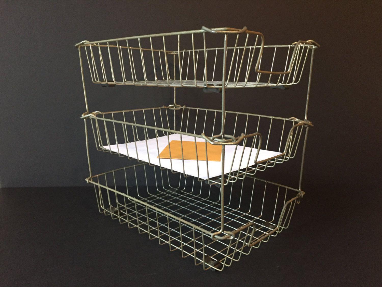 Vintage Wire Baskets, Industrial Metal Letter Trays, Stacking Storage  Baskets, File Baskets,