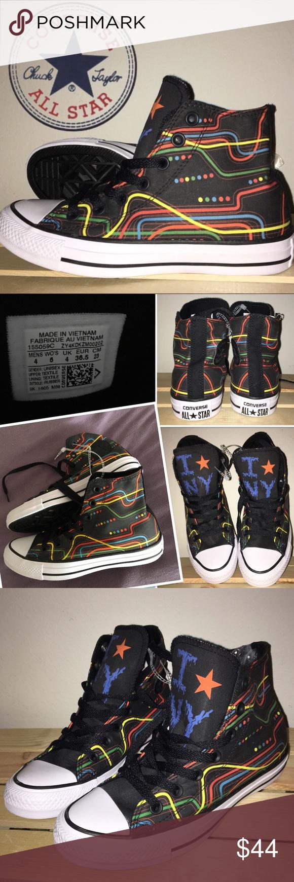Converse All Star Hi Tops NY Subway Map Sneakers Brand new