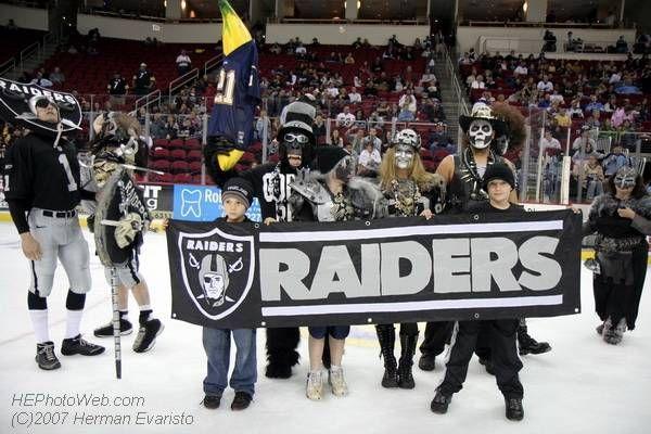 Black And Silver Invasion Of The Raider Nation At The Fresno Falcons Hockey Game Raider Nation Raiders Hockey Games