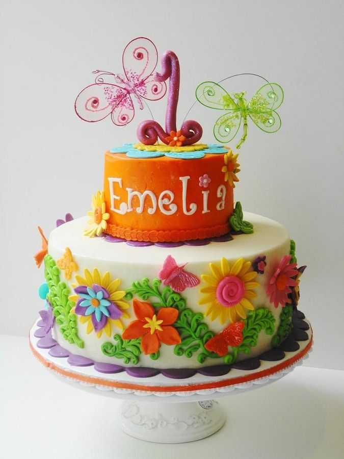 Butterflies And Flowers Birthday Cake Bright Cakes Girls Parties Also Gina Harris Harrisg Rh