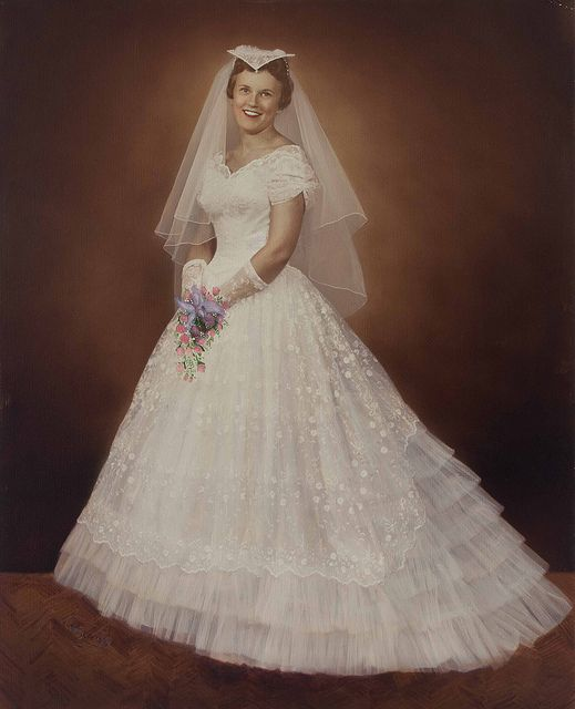1950s Hand Tinted Print Of A Bride In Her Wedding Dress