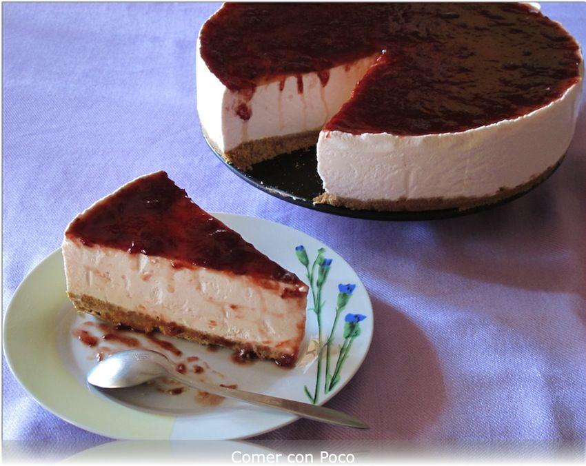 Tarta De Petit Suisse De Fresa Tartas Recetas De Comida Tartas Sin Horno
