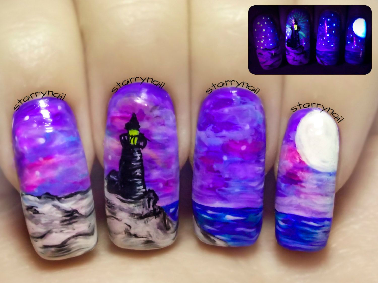 Lighthouse at Night ⎮ Glow in the Dark Freehand Nail Art. Handmade ...