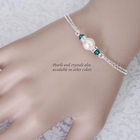 CUSTOM COLOR Swarovski Ivory Pearl and Emerald, Dark Green Crystal Bridesmaid Bracelet, Bridesmaid Gift, Bridesmaid Jewelry