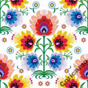 Tkanina Bawelniana Drelich Lowicki Kwiat Biel Polish Folk Art Flower Decorations Clip Art