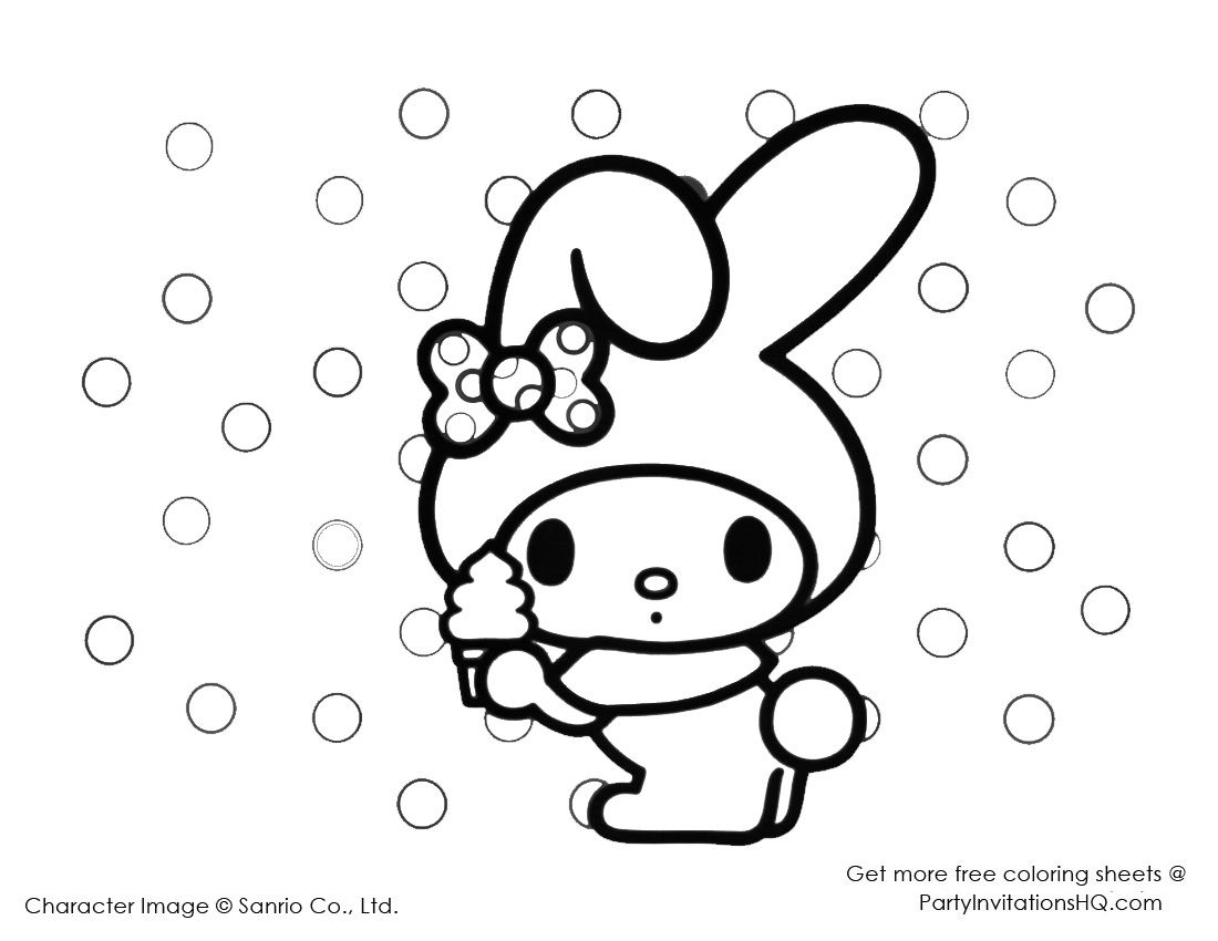 coloring pages of my melody for hello kitty would you like to