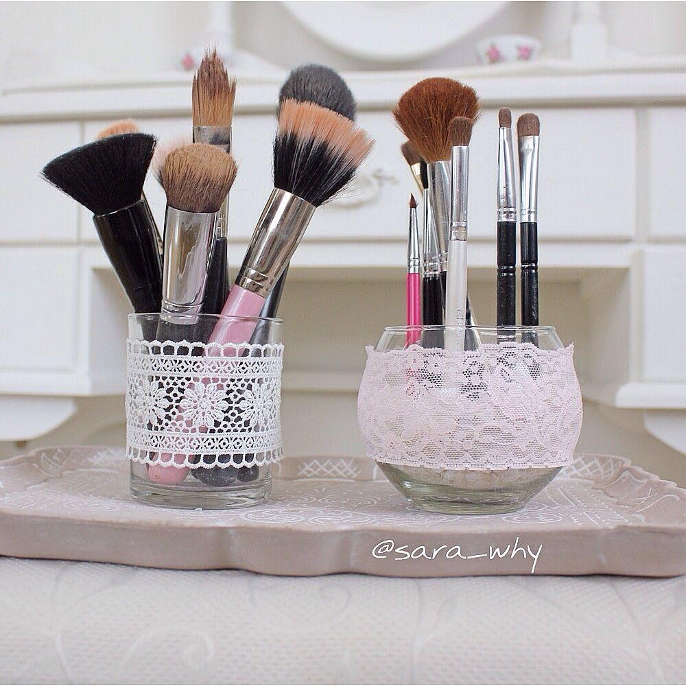 Shabby chic inspired makeup brush holders #DIY   DIY ...