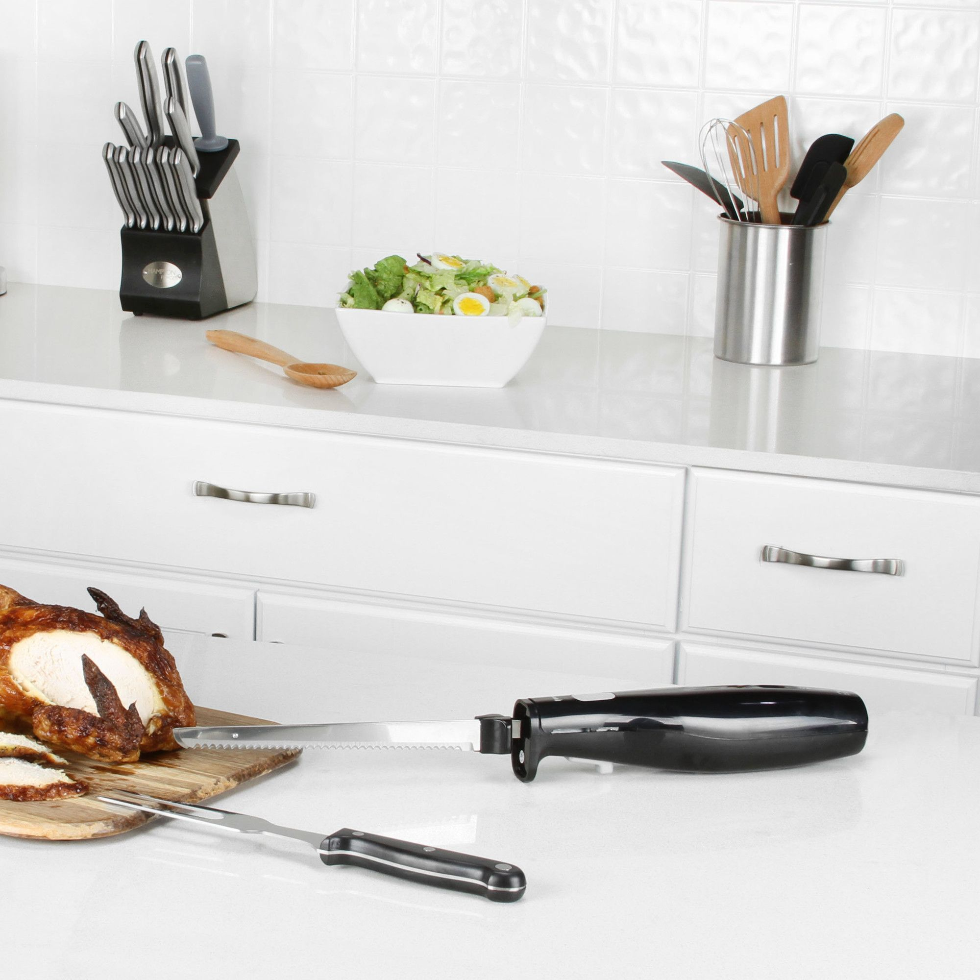 Quick slice piece electric knife carving set cutlery pinterest
