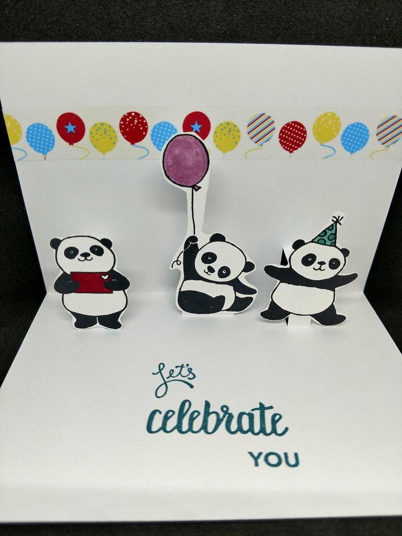 Panda Pop Up Card Etsy Panda Card Birthday Card Pop Up Panda Pop