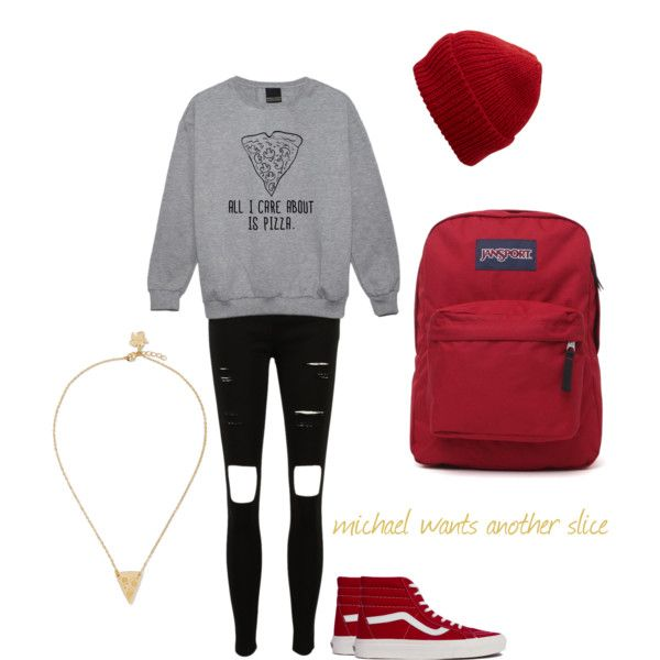 pizza by rickij on Polyvore featuring moda, Vans, JanSport, Vinca and Eugenia Kim