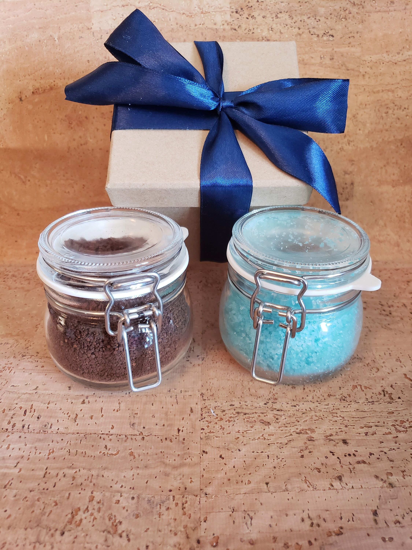 All natural organic scrub and bath salt gift set self