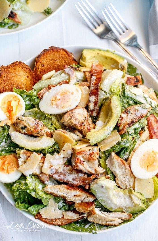 Skinny Chicken and Avocado Caesar Salad | http://cafedelites.com