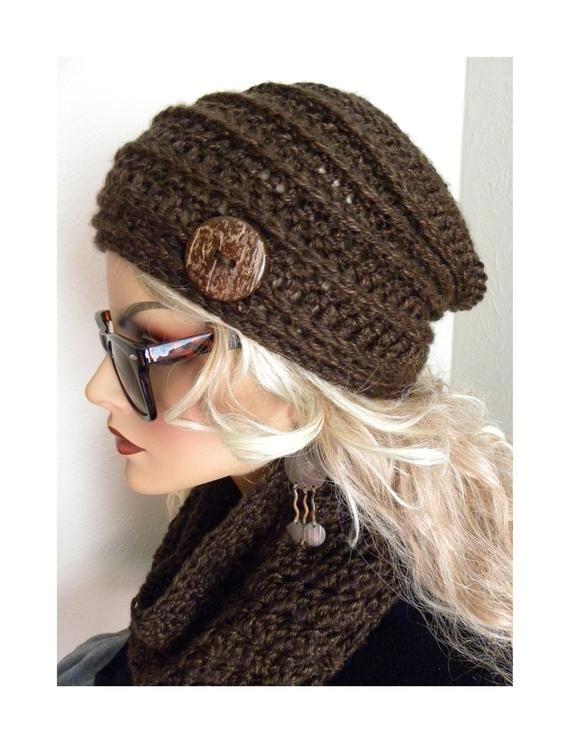 d0da3f57 Winter Hat, Brown Slouchy Beanie, Beanie, Boho fashion,Beanie ...