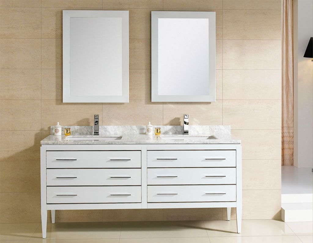 At Adornus Camile 60 Inch Modern Double Sink Bathroom Vanity White Finish,  Http:/