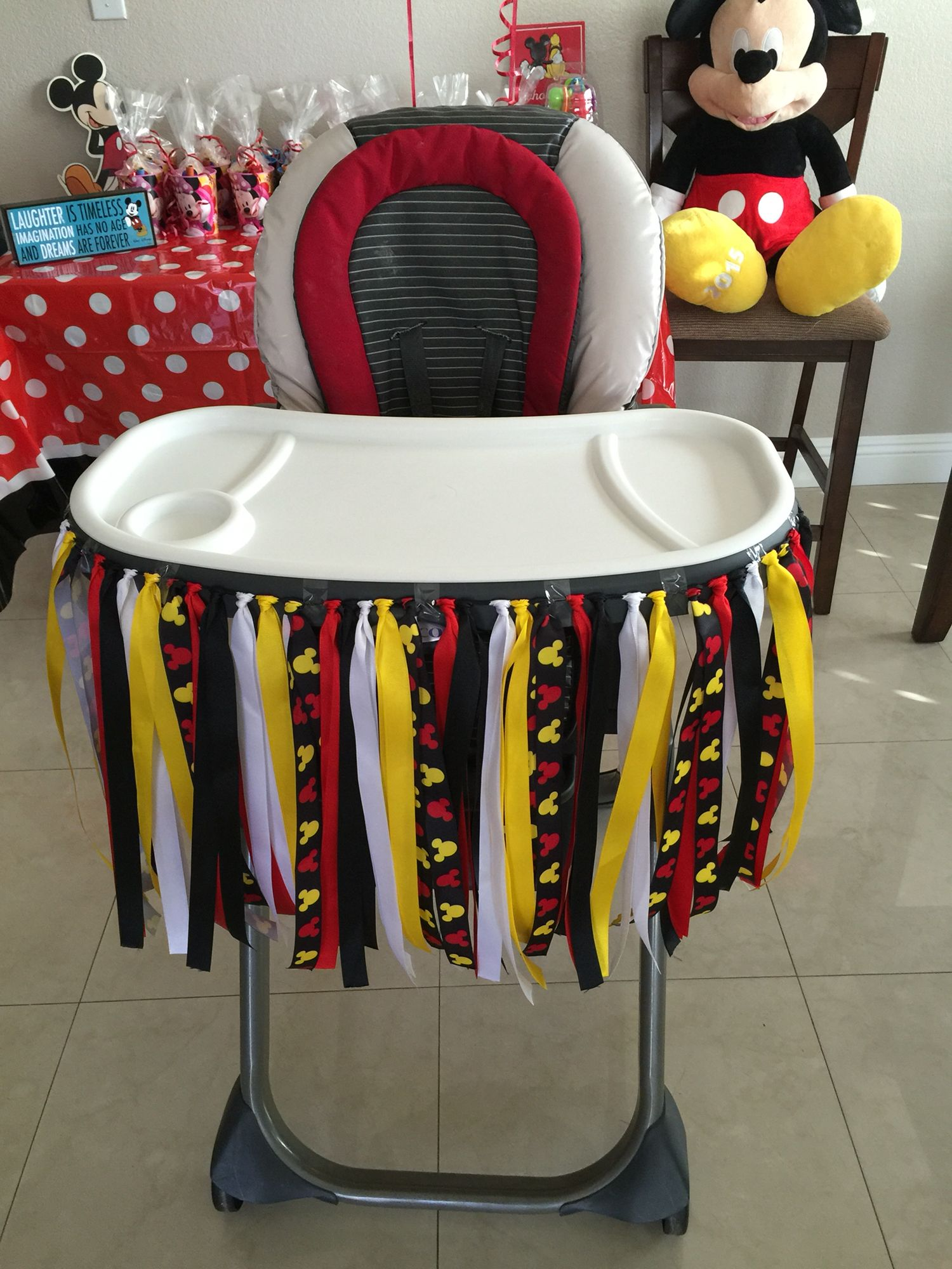 Mickey Mouse High Chair Decorations Wheelchair Zipline 1st Birthday Party