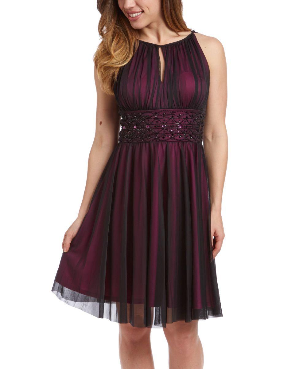 8b2387ea06d Jessica Howard Black   Magenta Sheer-Overlay Empire-Waist Dress - Women