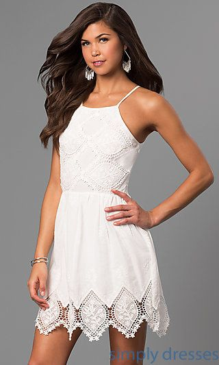 Shop lace short graduation party dresses at Simply Dresses. Semi-formal  dresses under  100 with high square necklines and adjustable straps. 9bcac29d3