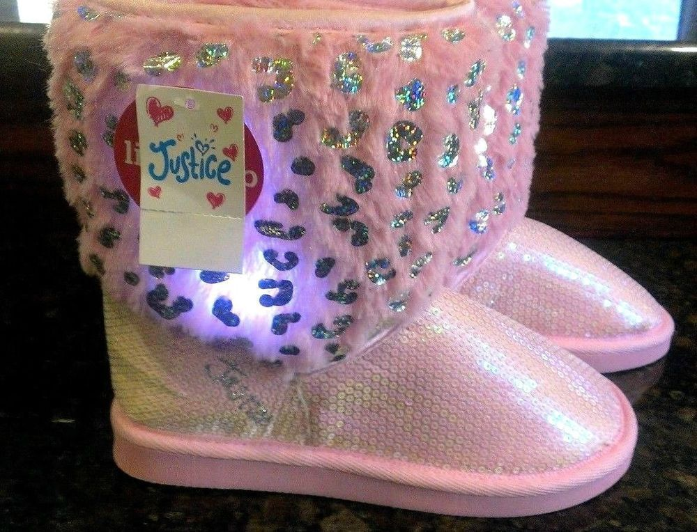 JUSTICE LIGHT UP PINK \u0026 SILVER BOOTS