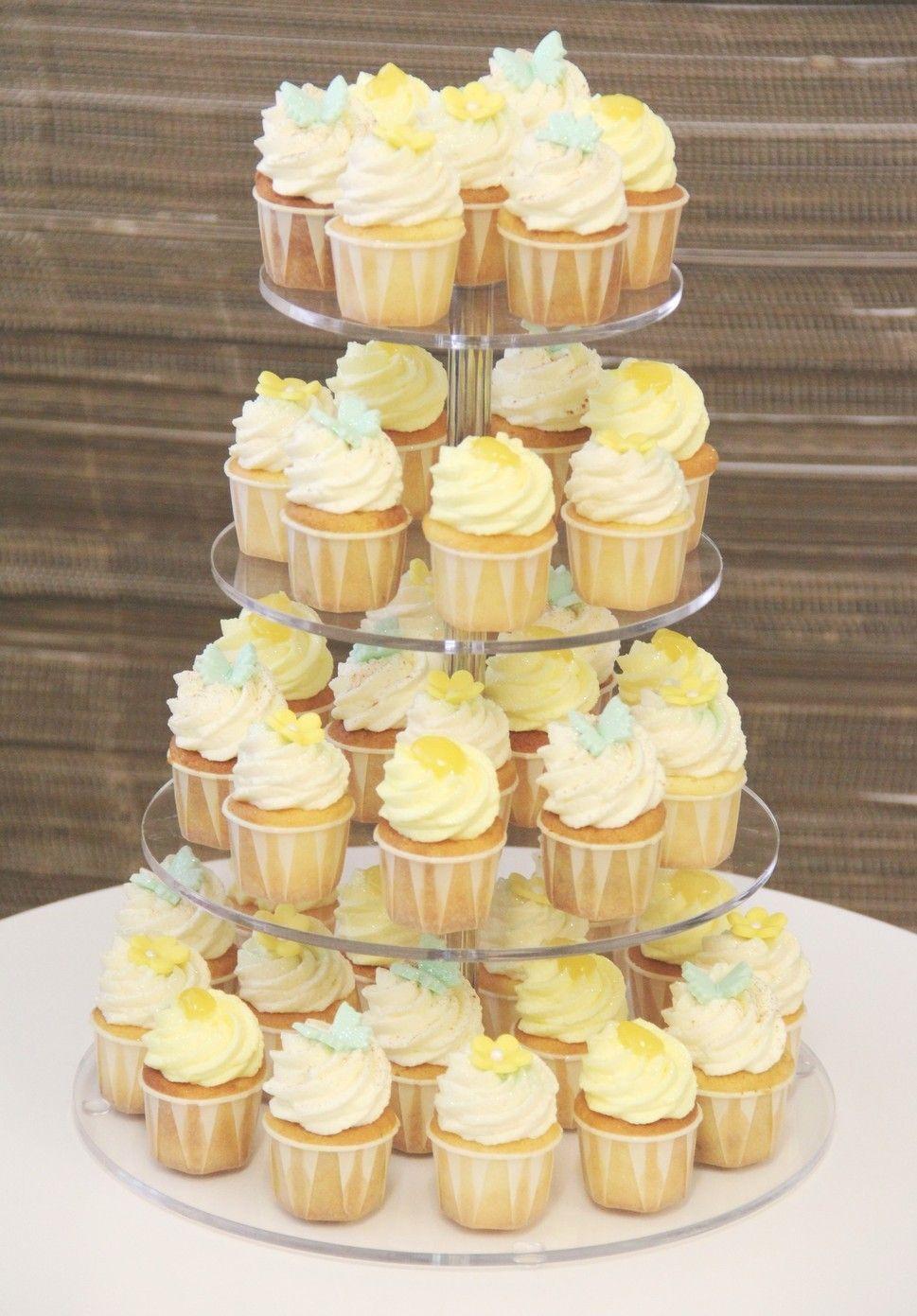 Cupcakes Hochzeitstorte in Pastellgelb und Pastellgrün