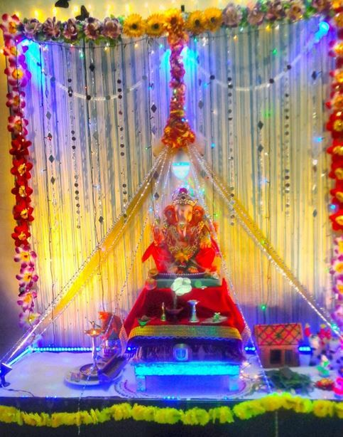 Image result for ganpati decoration ideas for home with for Background decoration for ganpati