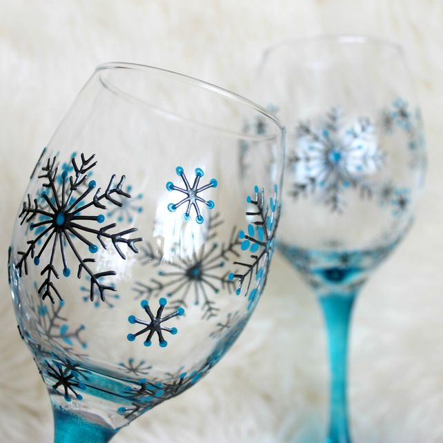 Hand Painted Wine Glasses, Wedding Glasses,Anniversary Glasses, Snowflake design £30.00