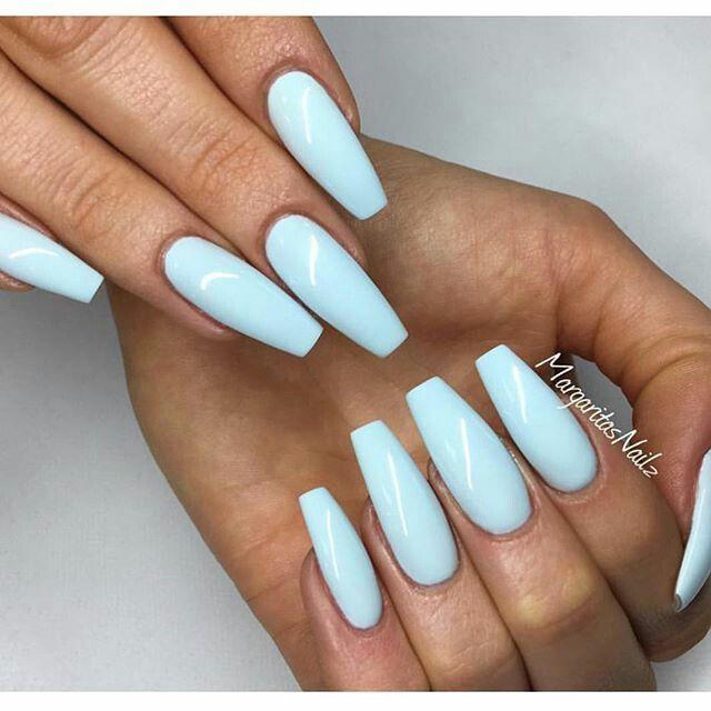 Pinterest Kekedanae20 Blue Coffin Nails Baby Blue Nails Trendy Nails