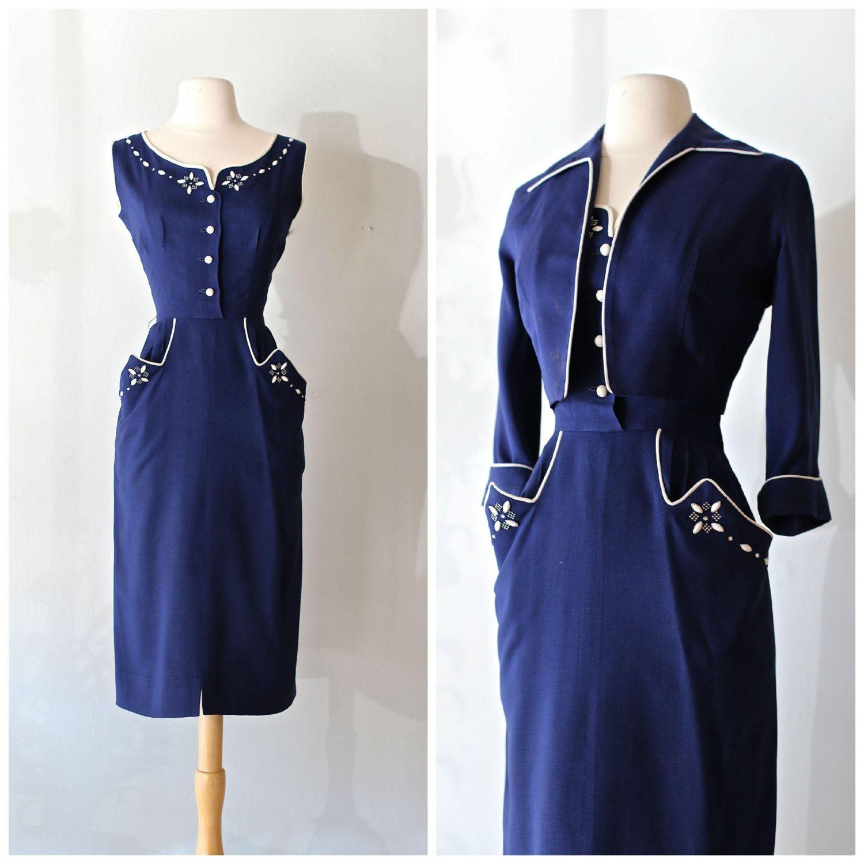 Vintage 1950s Western Dress Set Vintage 50s Wiggle Dress