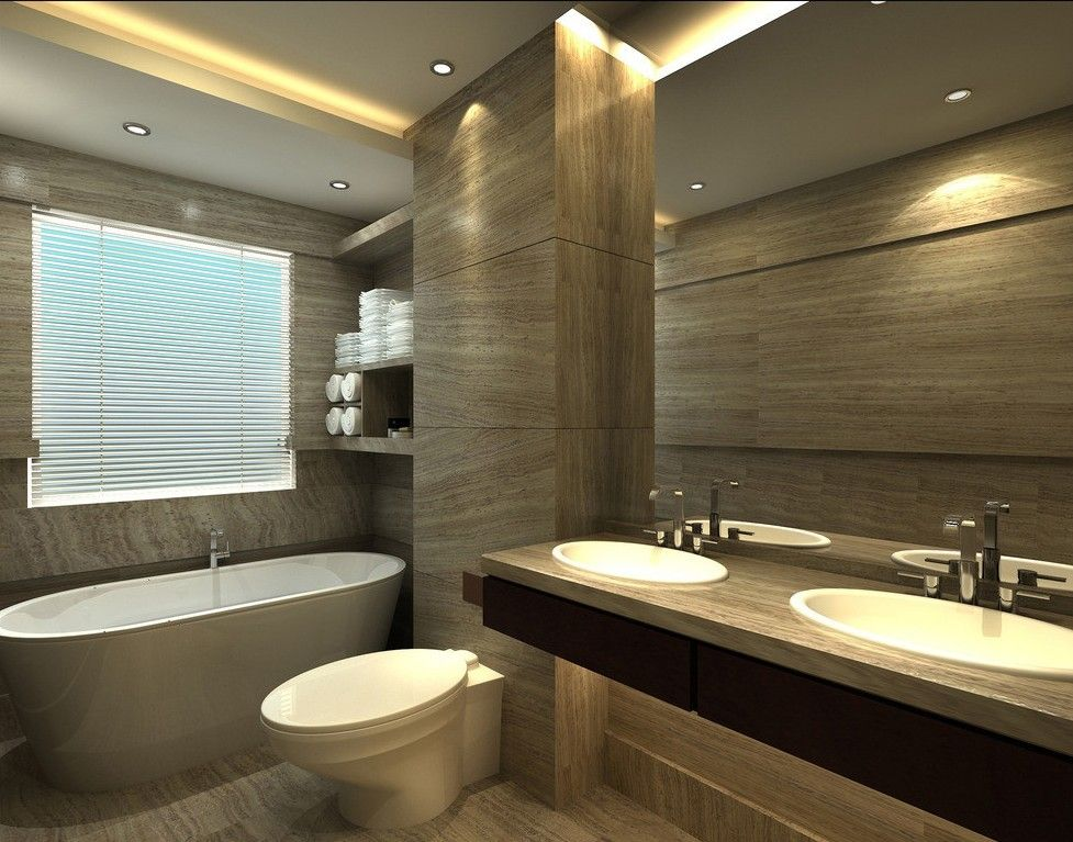 Small Bathroom Design Rendering, Luxurious European Toilet Design