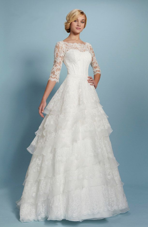 Jewel Chapel Train Lace Half Sleeve A Line Wedding Dress ...
