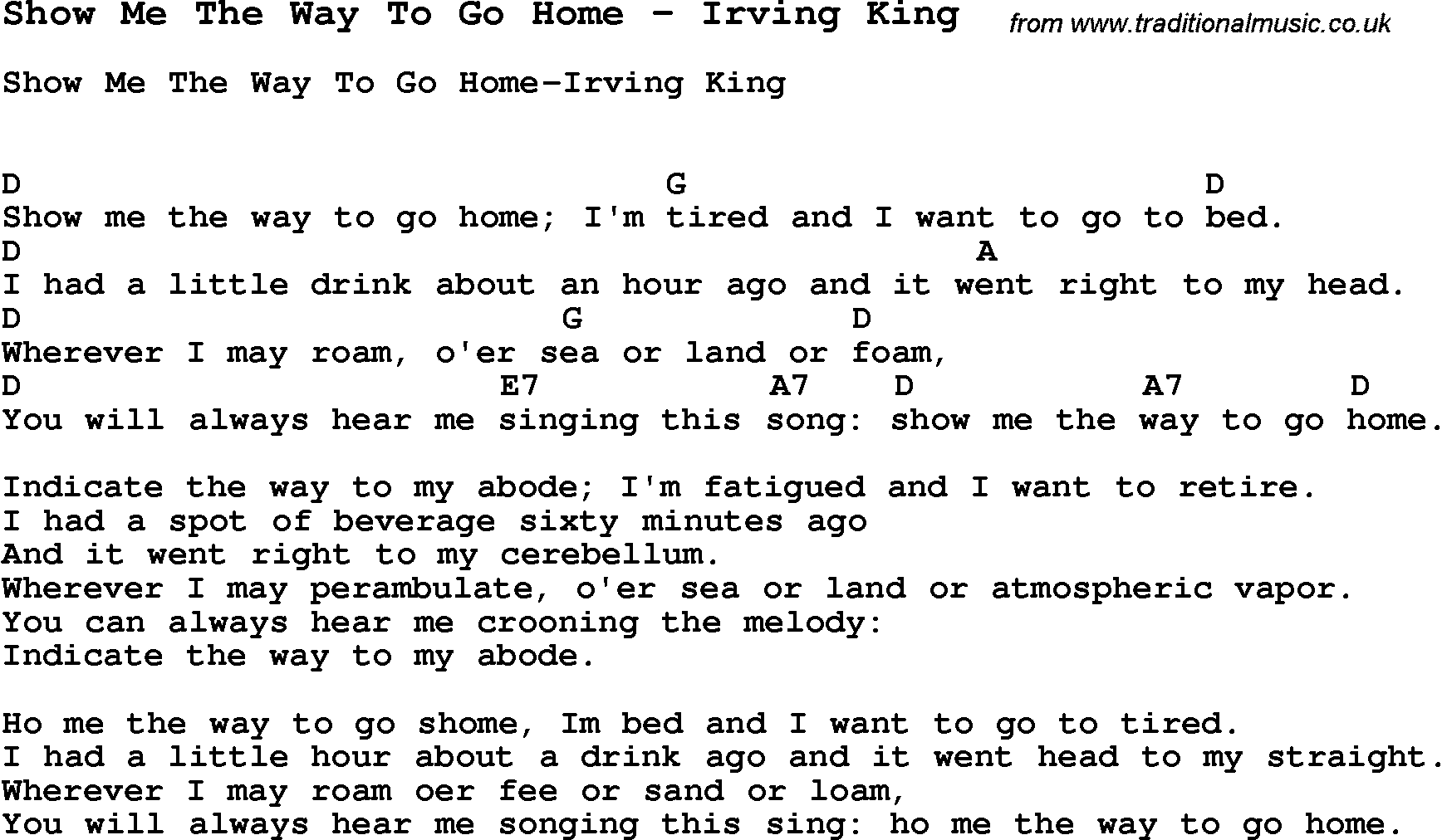 Song Show Me The Way To Go Home By Irving King With Lyrics For
