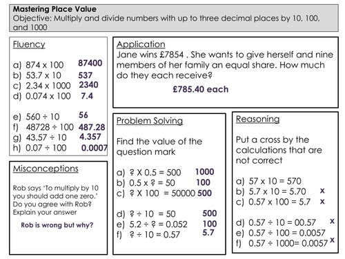 Mastery Maths Place Value multiplying and dividing by 10 100 – Multiply by 10 Worksheet